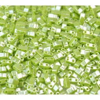 5mm Miyuki Half Tila Beads, Lime Green Luster, 10 Gram Bag