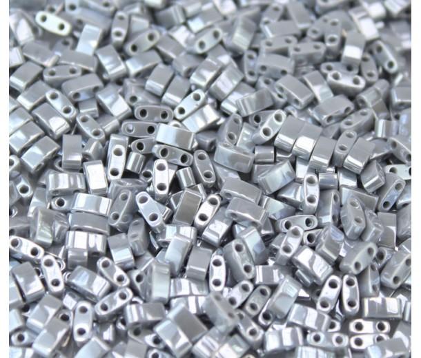 5mm Miyuki Half Tila Beads, Dark Grey Luster, 10 Gram Bag