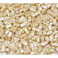 5mm Miyuki Half Tila Beads, Rainbow Beige Luster, 10 Gram Bag