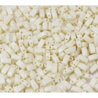 5mm Miyuki Half Tila Beads, Opaque Eggshell, 10 Gram Bag