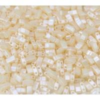 5mm Miyuki Half Tila Beads, Cream Ceylon, 10 Gram Bag