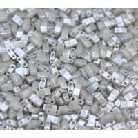5mm Miyuki Half Tila Beads, Grey Ceylon, 10 Gram Bag