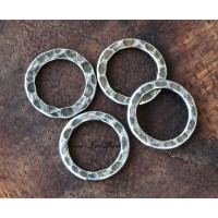 12mm Hammered Linking Rings, Antique Silver, Pack of 12