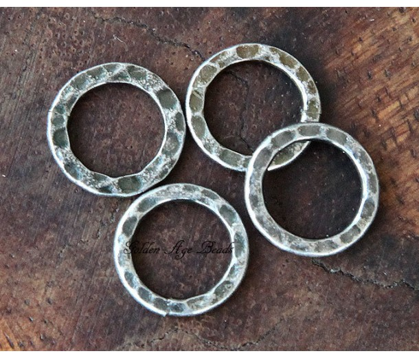 12mm Hammered Linking Rings, Antique Silver