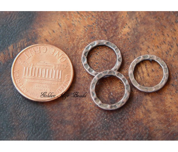 12mm Hammered Linking Rings, Antique Copper