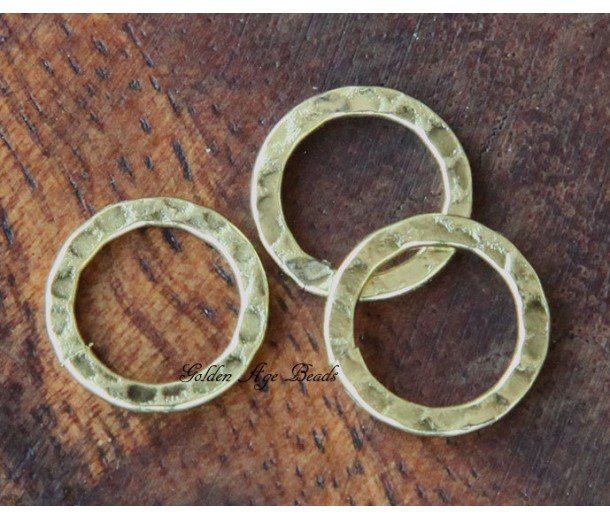 12mm Hammered Linking Rings, Antique Gold, Pack of 12