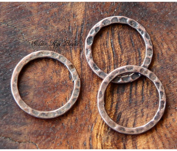 16mm Hammered Linking Rings, Antique Copper