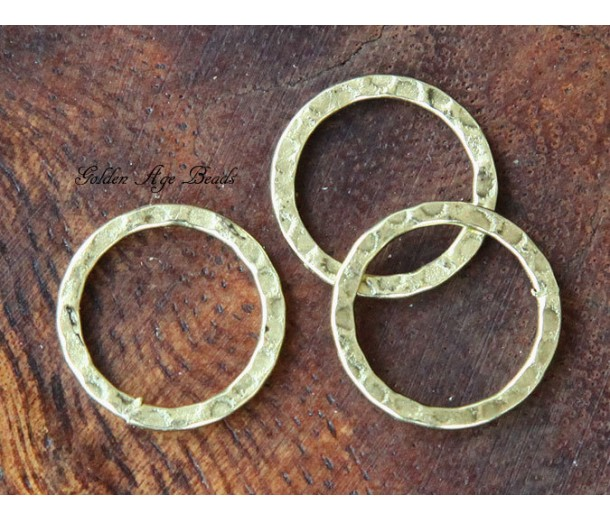 16mm Hammered Linking Rings, Antique Gold