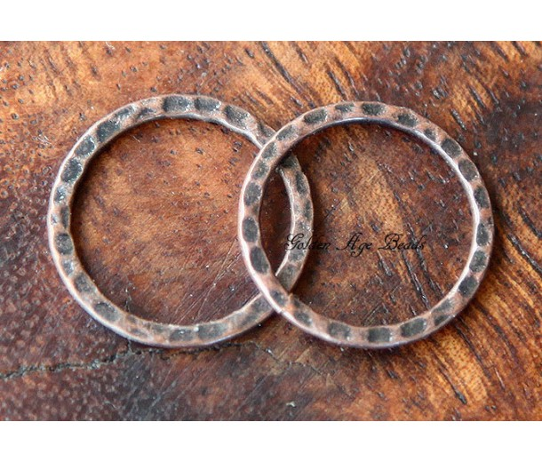 20mm Hammered Linking Rings, Antique Copper