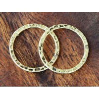 20mm Hammered Linking Rings, Antique Gold