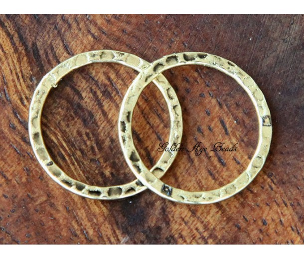 20mm Hammered Linking Rings, Antique Gold, Pack of 10