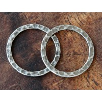 20mm Hammered Linking Rings, Antique Silver