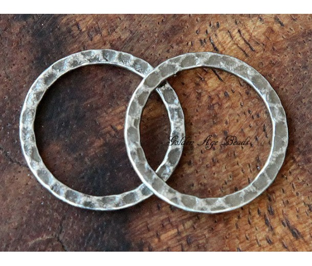 20mm Hammered Linking Rings, Antique Silver, Pack of 10