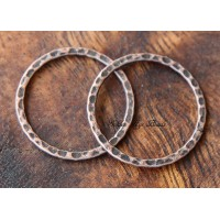 25mm Hammered Linking Rings, Antique Copper