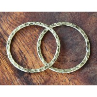 25mm Hammered Linking Rings, Antique Gold