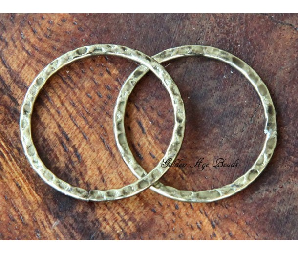 25mm Hammered Linking Rings, Antique Gold, Pack of 10