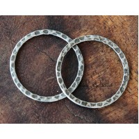 25mm Hammered Linking Rings, Antique Silver