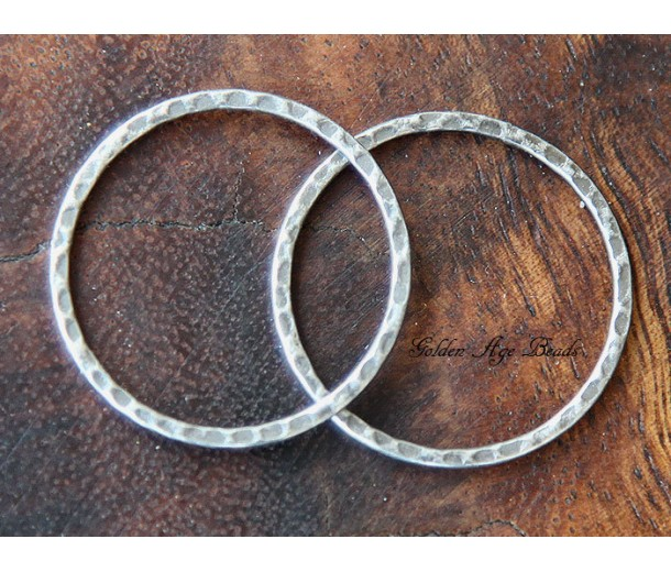 30mm Hammered Linking Rings, Antique Silver