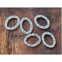 12x10mm Hammered Oval Links, Antique Silver, Pack of 12