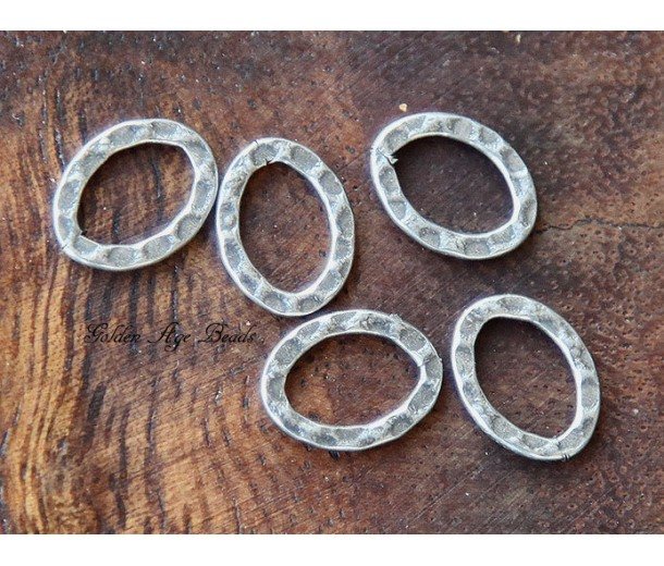 12x10mm Hammered Oval Links, Antique Silver