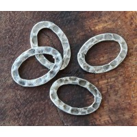 14x10mm Hammered Oval Links, Antique Silver