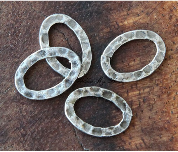 14x10mm Hammered Oval Links, Antique Silver, Pack of 12