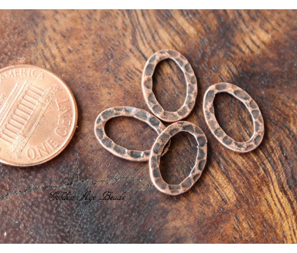 14x10mm Hammered Oval Links, Antique Copper