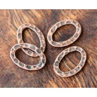 18x13mm Hammered Oval Links, Antique Copper
