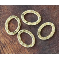 12x10mm Hammered Oval Links, Antique Gold, Pack of 12