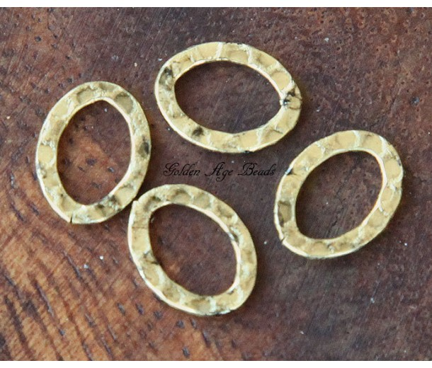 14x10mm Hammered Oval Links, Antique Gold, Pack of 12
