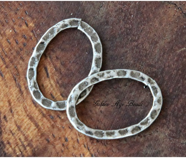 18x13mm Hammered Oval Links, Antique Silver, Pack of 12