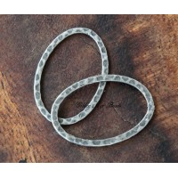 30x20mm Hammered Oval Links, Antique Silver
