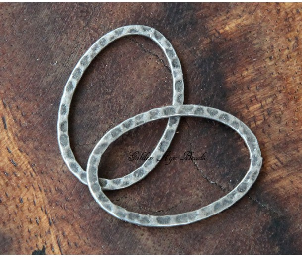 40x30mm Hammered Oval Links, Antique Silver
