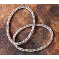 30x20mm Hammered Oval Links, Antique Copper, Pack of 8