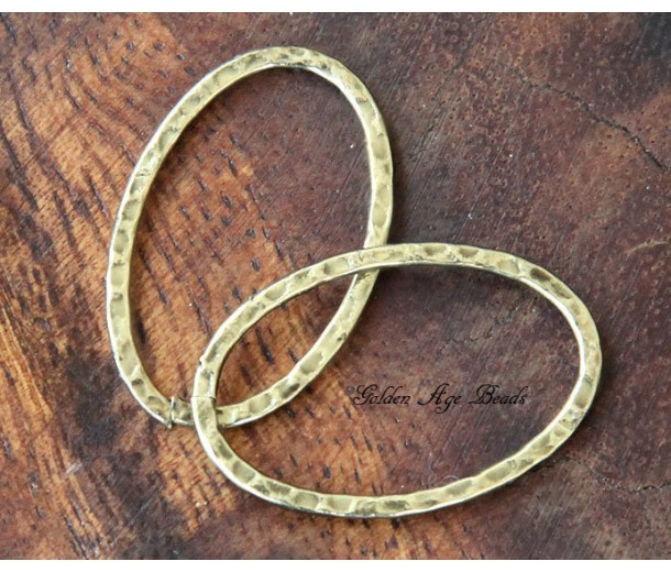 40x30mm Hammered Oval Links, Antique Gold, Pack of 4