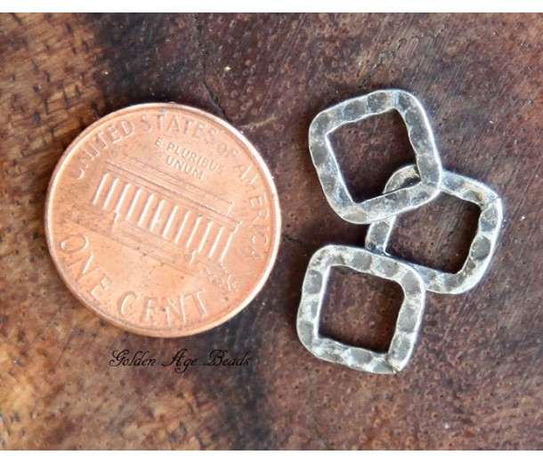 10x10mm Hammered Square Links, Antique Silver, Pack of 12