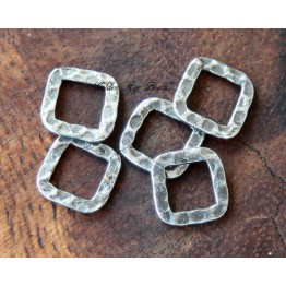 10x10mm Hammered Square Links, Antique Silver