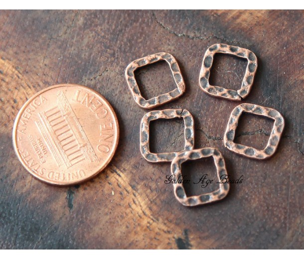 10x10mm Hammered Square Links, Antique Copper, Pack of 12