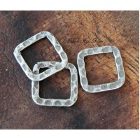 12x12mm Hammered Square Links, Antique Silver, Pack of 12