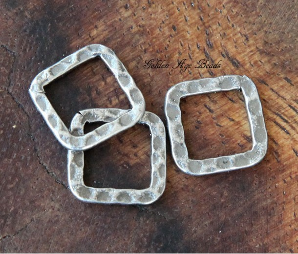 12x12mm Hammered Square Links, Antique Silver
