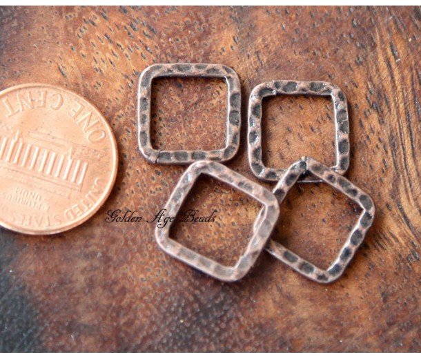 12x12mm Hammered Square Links, Antique Copper