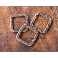 12x12mm Hammered Square Links, Antique Copper, Pack of 12