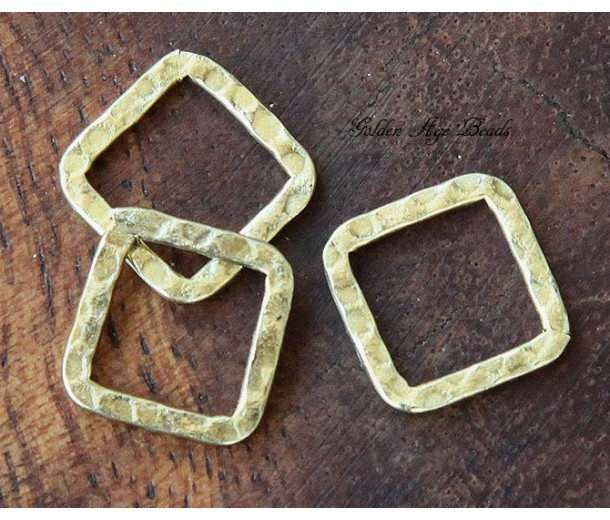 12x12mm Hammered Square Links, Antique Gold, Pack of 12