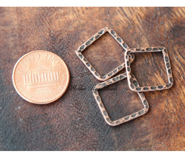 16x16mm Hammered Square Links, Antique Copper, Pack of 10