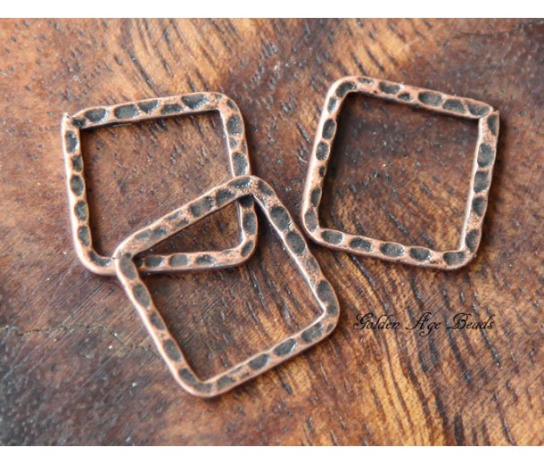 16x16mm Hammered Square Links, Antique Copper