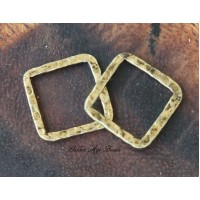 16x16mm Hammered Square Links, Antique Gold