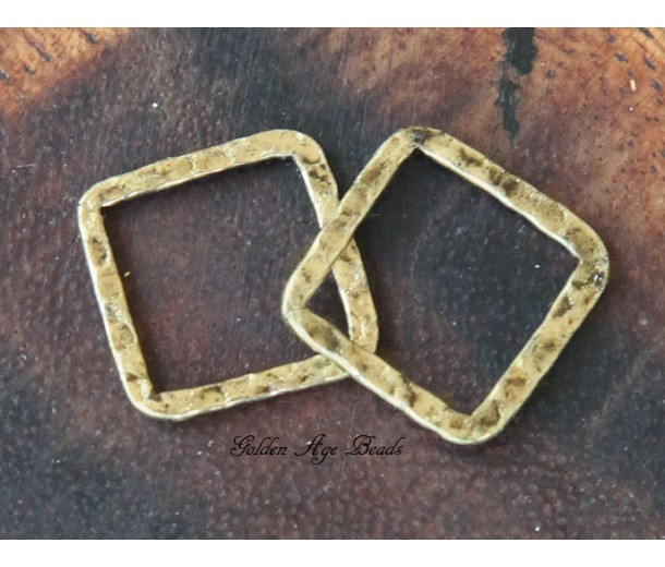 16x16mm Hammered Square Links, Antique Gold, Pack of 10