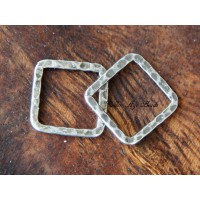 16x16mm Hammered Square Links, Antique Silver