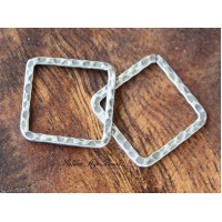 20x20mm Hammered Square Links, Antique Silver, Pack of 10