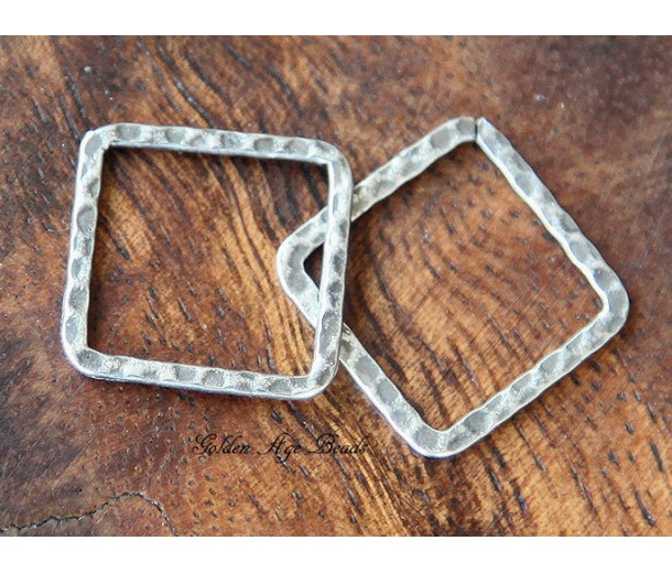 20x20mm Hammered Square Links, Antique Silver